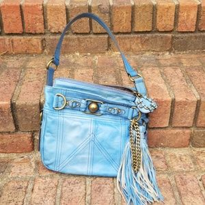 Juicy Couture Leather Bronson Tassel BLUE HANDBAG